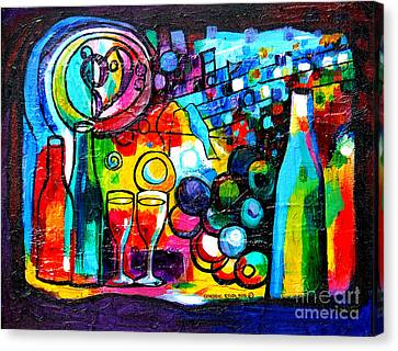 Tasting Canvas Print - Wine Menagerie by Genevieve Esson
