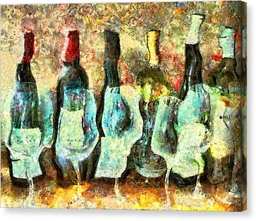 Wine On The Town Canvas Print by Marilyn Sholin