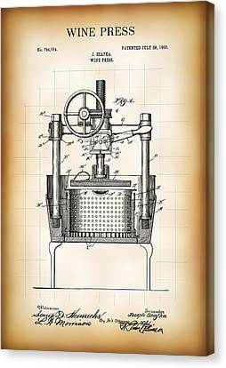 Wine Press Patent  1903 Canvas Print by Daniel Hagerman