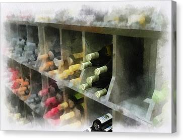 Wine Rack Mixed Media 01 Canvas Print by Thomas Woolworth