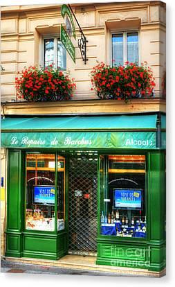 Wine Shop On Rue Cler Canvas Print by Mel Steinhauer