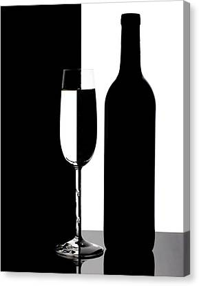 Wine Bottle Canvas Print - Wine Silhouette by Tom Mc Nemar