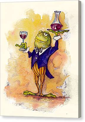 Frogs Canvas Print - Wine Steward Toady by Peggy Wilson