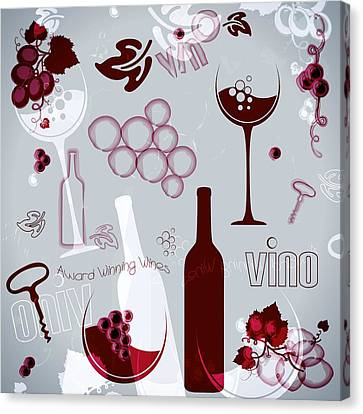 Wine Style Art Canvas Print by Serena King