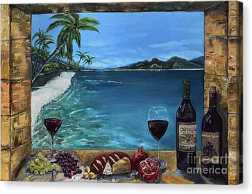 Canvas Print featuring the painting Wine Thirty - Oceanside by Jan Dappen
