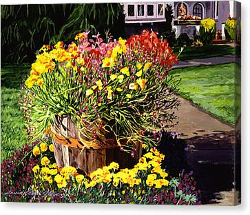 Winebarrel Garden Canvas Print by David Lloyd Glover