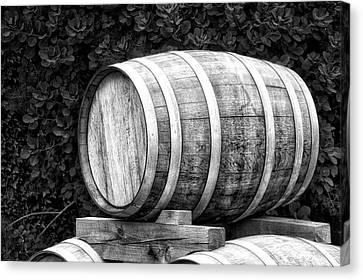 Winery Wine Barrel Bw Canvas Print