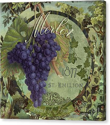 Wines Of France Merlot Canvas Print by Mindy Sommers