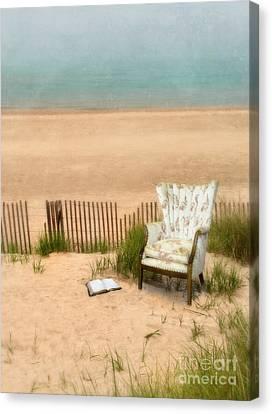 Wingback Chair At The Beach Canvas Print by Jill Battaglia