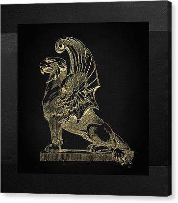 Canvas Print featuring the digital art Winged Chimera From Theater De Bellecour, Lyon, France, In Gold On Black by Serge Averbukh