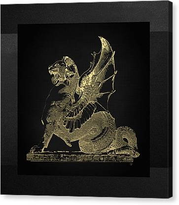 Canvas Print featuring the digital art Winged Dragon Chimera From Fontaine Saint-michel, Paris In Gold On Black by Serge Averbukh