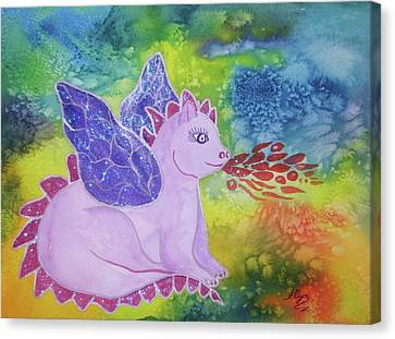 Canvas Print featuring the painting Winged Dragon by Ellen Levinson