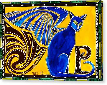 Canvas Print featuring the painting Winged Feline - Cat Art With Letter P By Dora Hathazi Mendes by Dora Hathazi Mendes