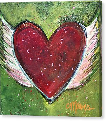 Canvas Print featuring the painting Winged Heart Number 1 by Laurie Maves ART