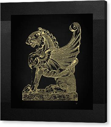 Canvas Print featuring the digital art Winged Lion Chimera From Casa San Isidora, Santiago, Chile, In Gold On Black by Serge Averbukh