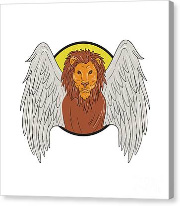 Winged Lion Head Circle Drawing Canvas Print