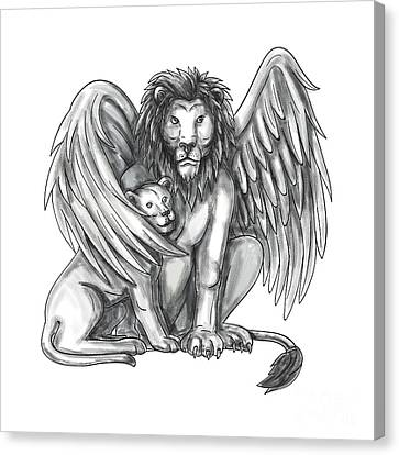 Winged Lion Protecting Cub Tattoo Canvas Print