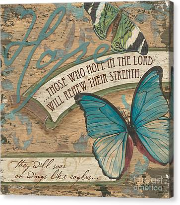 Bible Verse Canvas Print - Wings Of Hope by Debbie DeWitt
