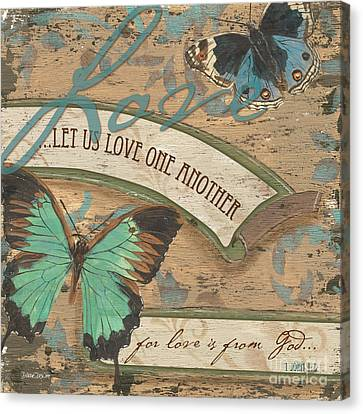 Bible Verse Canvas Print - Wings Of Love by Debbie DeWitt
