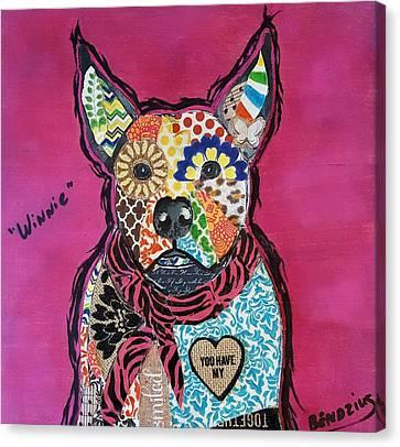 Winnie Pitbull Mixed Breed Canvas Print by Theresa Bendzius