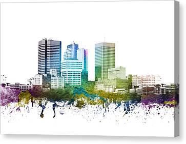 Winnipeg Cityscape 01 Canvas Print by Aged Pixel