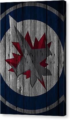 Winnipeg Jets Wood Fence Canvas Print