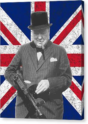 Winston Churchill And Flag Canvas Print by War Is Hell Store