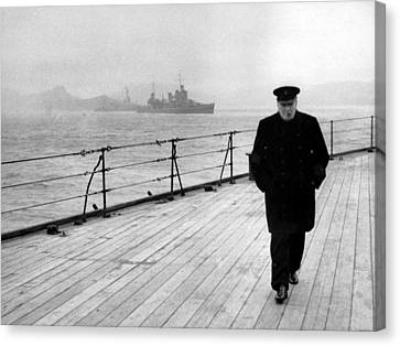 Winston Churchill At Sea Canvas Print