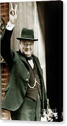 Prime Canvas Print - Winston Churchill, English Prime Minister, Making The Victory Gesture In Front Of 10 Downing Street  by English School