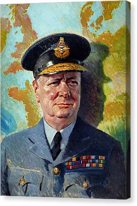 British Politicians Canvas Print - Winston Churchill In Uniform by War Is Hell Store