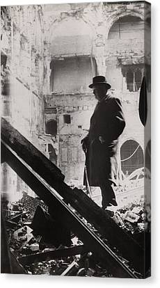 Prime Canvas Print - Winston Churchill Inspecting Bomb by Everett