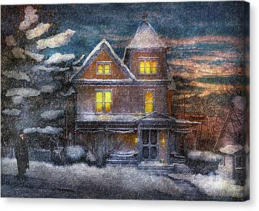 Winter - Clinton Nj - A Victorian Christmas  Canvas Print by Mike Savad