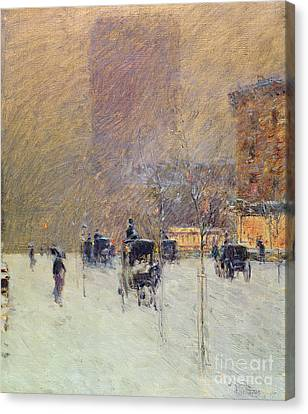 Winter Afternoon In New York Canvas Print by Childe Hassam