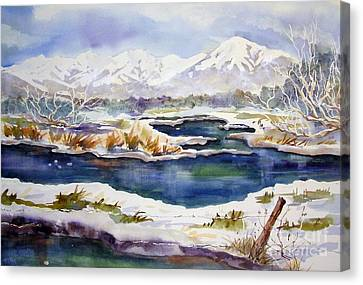 Canvas Print featuring the painting Winter Airport Road by Pat Crowther