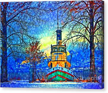 Winter And The Tug Boat 2 Canvas Print by Tara Turner