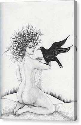 Canvas Print featuring the drawing Winter by Anna  Duyunova