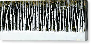 Canvas Print featuring the painting Winter Aspens II by Michael Swanson