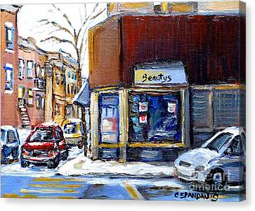 Winter At Beauty's Restaurant City Scene Landmark Paintings Montreal Memories Exceptional Canada Art Canvas Print by Carole Spandau