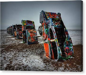 Winter At Cadillac Ranch 001 Canvas Print by Lance Vaughn