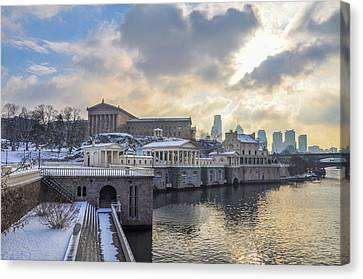 Winter At Fairmount Waterworks In Philadelphia Canvas Print by Bill Cannon