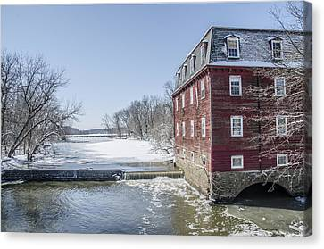Winter At Kingston Mill Canvas Print by Bill Cannon