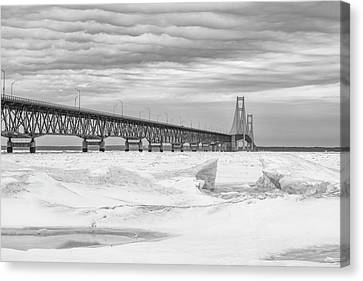 Canvas Print featuring the photograph Winter At Mackinac Bridge by John McGraw