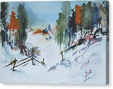 Winter At Marble Farm Canvas Print by Wilfred McOstrich