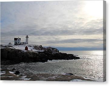 Nubble Lighthouse Canvas Print - Winter At Nubble Lighthouse by Becca Brann