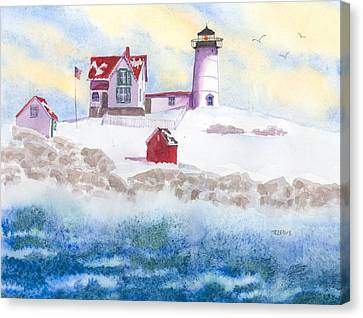 Winter At Nubble Lighthouse  Canvas Print by Roseann Meserve