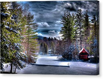 Canvas Print featuring the photograph Winter At The Boathouse by David Patterson