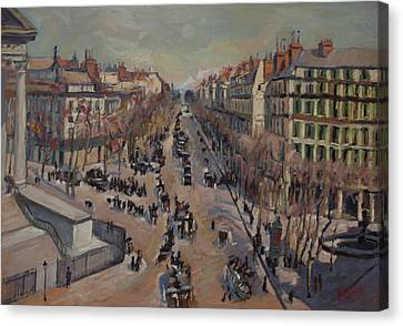 Winter At The Boulevard De La Madeleine, Paris Canvas Print by Nop Briex