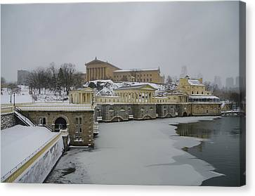 Winter At The Fairmount Waterworks In Philadelphia Canvas Print