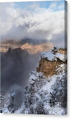 Canvas Print featuring the photograph Winter At The Grand  Canyon by Sandra Bronstein