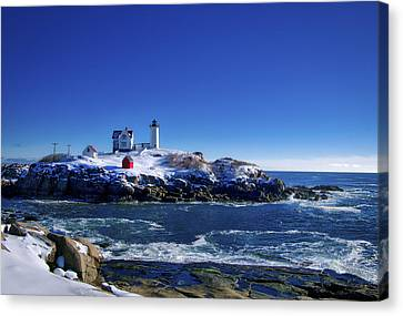 Winter At The Nubble Lighthouse - York - Maine II Canvas Print by Steven Ralser